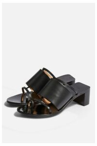 Womens Violet Leather Black Mule Sandals - Black, Black