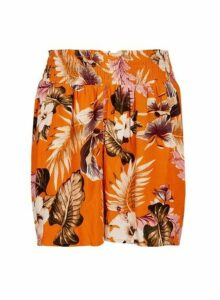 Womens Orange Floral Print Crinkle Shorts, Orange