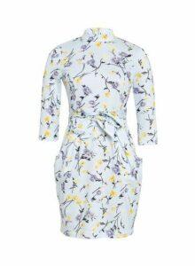 Womens Blue Vanilla Multi Colour Floral Print High Neck Shift Dress, Blue