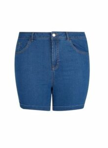 Womens Dp Curve Blue Mid Wash Denim Shorts, Blue