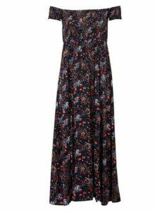 Womens Izabel London Multi Colour Floral Print Bardot Maxi Dress, Multi Colour