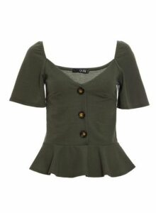Womens *Quiz Khaki Peplum Button Top, Khaki