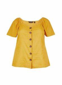 Womens Dp Curve Yellow Flutter Top - Orange, Orange