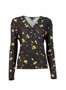 Womens **Tall Multi Colour Floral And Spot Print Wrap Top- Black, Black