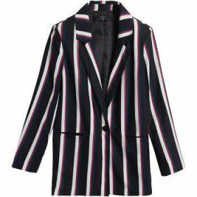 On Parle De Vous  Mid-length striped blazer  women's Jacket in Black
