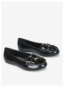 Wide Fit Navy Comfort Tassel Loafers, Navy