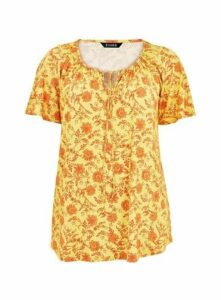 Yellow Floral Gypsy Top, Yellow