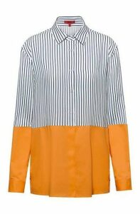 Relaxed-fit blouse with colourblocking and side-seam buttons