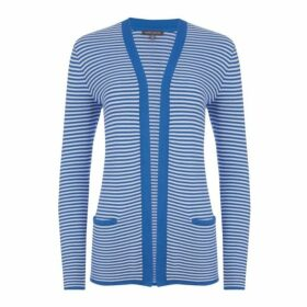Blue Longline Edge to Edge Stripe Cardigan