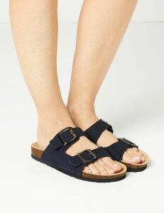 M&S Collection Leather Two Strap Sandals