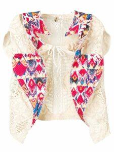 Comme Des Garçons Pre-Owned crochet knit cardigan - Neutrals