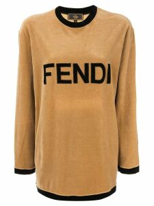 Fendi Pre-Owned logo print velvet top - Brown