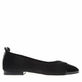 MICHAEL Michael Kors Black Vicky Logo Tape Knit Ballet Flat