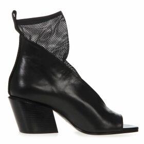 Elena Iachi Black Leather & Mesh Ankle Sandal