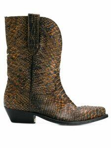 Golden Goose snake print cowboy boots - Brown