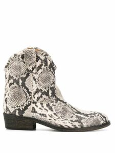 Via Roma 15 snake western ankle boots - White