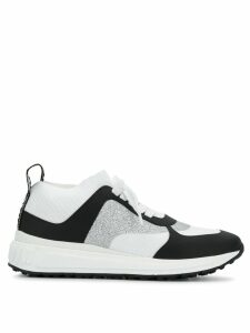 Miu Miu leather and glitter fabric sneakers - White