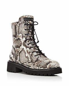 Giuseppe Zanotti Women's Snake-Print Combat Boots