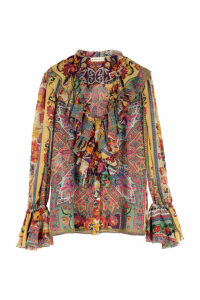 Etro Frill-neck Printed Silk Blouse