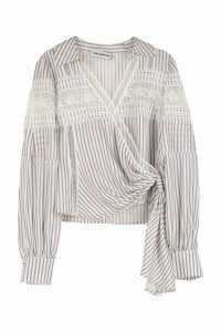 self-portrait Crepe-de-chine Blouse With Lace Insert