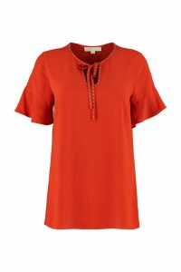 MICHAEL Michael Kors Lace-up Collar Crêpe Blouse
