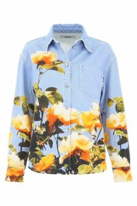 MSGM Rose Print Denim Shirt