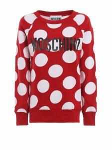 Moschino Polka-dot Red Cotton Jersey Long Sweatshirt