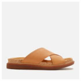 Clarks Women's Trace Drift Leather Cross Front Sandals - Light Tan - UK 8 - Tan