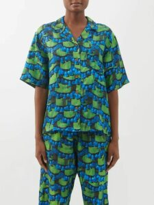 Palmer//harding - Sash Ruffled Plissé Blouse - Womens - Red