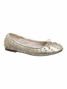Fanley Studded Metallic Leather Ballet Flats