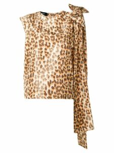 Rochas bow-detail leopard-print top - NEUTRALS