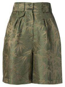 Etro high waisted foliage print shorts - Green