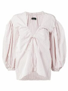 Eudon Choi oversized check blouse - White