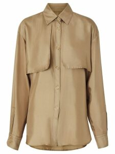 Burberry Cape Detail Silk Shirt - Brown