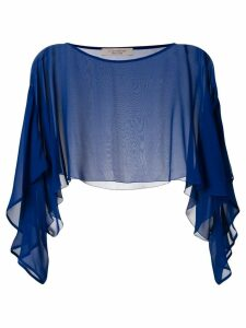 D.Exterior sheer cropped blouse - Blue