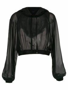Tufi Duek silk sheer hoodie - Black