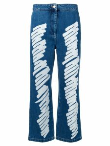 Moschino Brushstroke effect cropped jeans - Blue