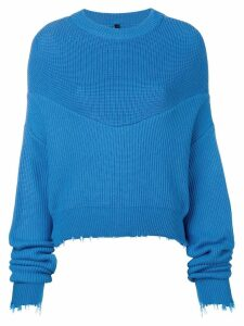 Unravel long-sleeve draped sweater - Blue