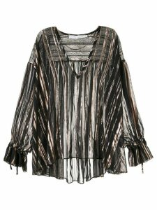 IRO metallic-effect trim blouse - GOLD