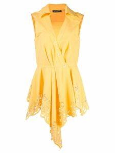 Josie Natori lace detail asymmetric blouse - Yellow