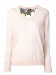 N.Peal Printed Back Sweater - Pink