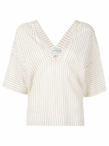 Forte Forte striped V-neck blouse - Neutrals