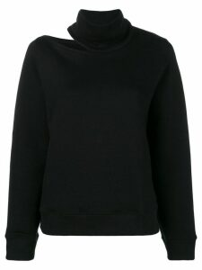 Zilver High Neck Open Shoulder Sweatshirt in Organic Cotton - Black