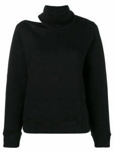 Zilver High Neck Open Shoulder Sweatshirt in Organic Cotton - Black
