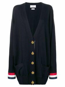 Thom Browne Rwb Cuff Oversized Merino Cardigan - Blue