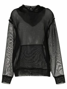 Yang Li sheer panel hoodie - 99Black