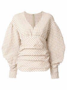 Irene Puffer Sleeve Gingham Top - Brown
