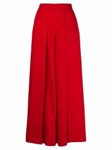 Talbot Runhof creased palazzo trousers - Red