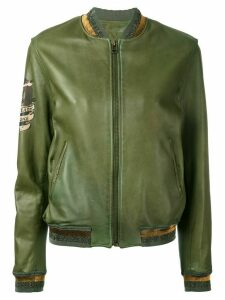 Mr & Mrs Italy tattoo-style print leather bomber - Green