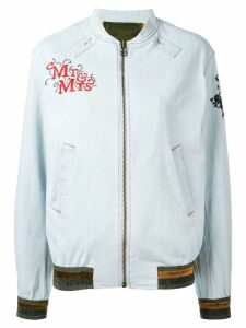 Mr & Mrs Italy patch detail bomber jacket - Blue